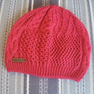 Ladies Red Knit Billabong Winter Beanie Hat Cap